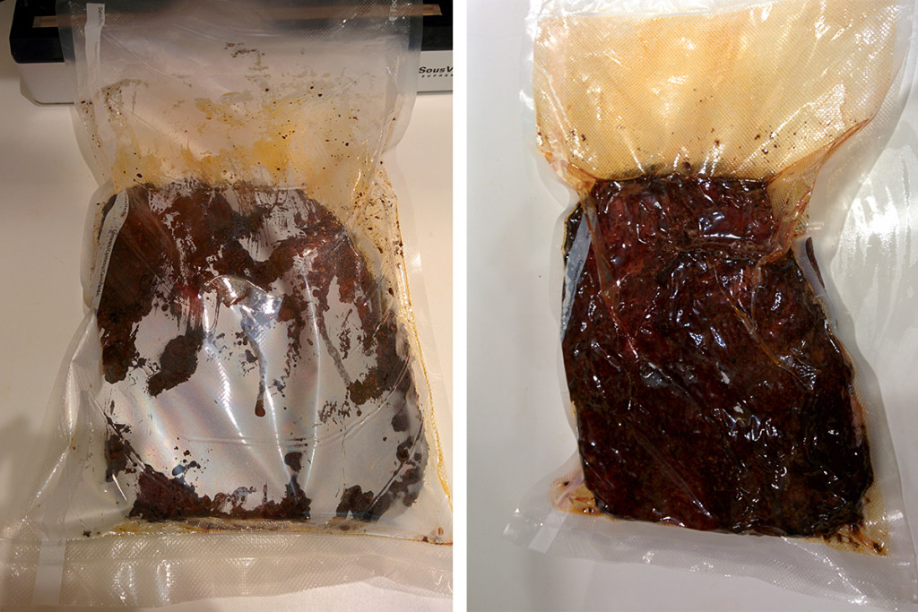 Sealing brisket in vacuum bag