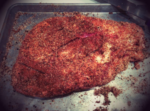 Brisket flat portion, with rub